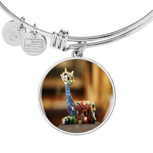 ShineOn Fulfillment Bangles Luxury Bangle (Silver) / No Luxury Steel Charm Bangle - Mosaic Cat (Round)
