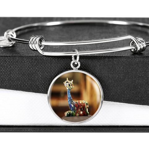 Image of ShineOn Fulfillment Bangles Luxury Bangle (Silver) / No Luxury Steel Charm Bangle - Mosaic Cat (Round)