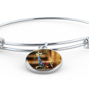 Luxury Steel Charm Bangle - Mosaic Cat (Round)