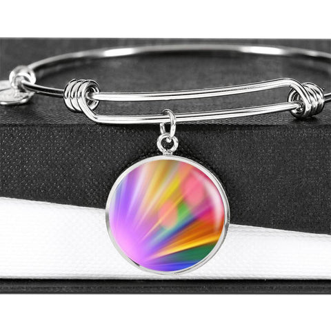 ShineOn Fulfillment Bangles Luxury Bangle (Silver) / No Luxury Steel Charm Bangle - Rainbow Bokeh (Round)