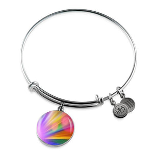 Luxury Steel Charm Bangle - Rainbow Bokeh (Round)