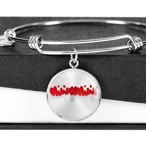 ShineOn Fulfillment Bangles Luxury Bangle (Silver) / No Luxury Steel Charm Bangle - String Of Hearts (Round)