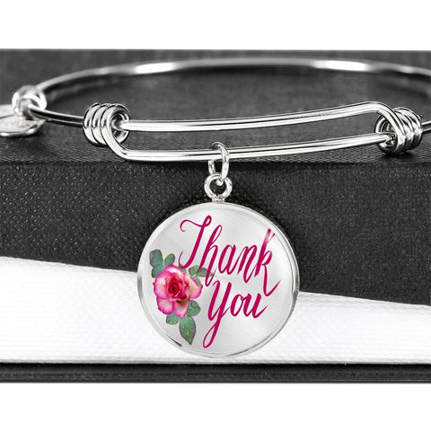 ShineOn Fulfillment Bangles Luxury Bangle (Silver) / No Luxury Steel Charm Bangle - Thank You (Round)