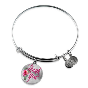 Luxury Steel Charm Bangle - Thank You (Round)