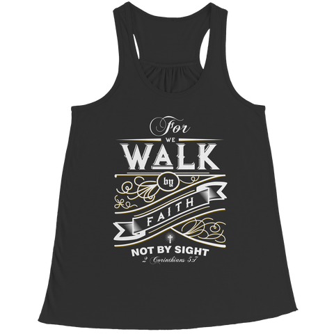 PT Bella Flowy Racerback Tank Bella Flowy Racerback Tank / Black / S For We Walk By Faith (Ladies Racerback Tank)