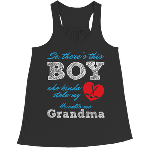 PT Bella Flowy Racerback Tank Bella Flowy Racerback Tank / Black / S Limited Edition - Boy Who Stole My Heart Grandma Hockey (Ladies Racerback Tank)