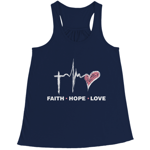 Image of PT Bella Flowy Racerback Tank Bella Flowy Racerback Tank / Navy / S Faith Hope Love (Ladies Racerback Tank)