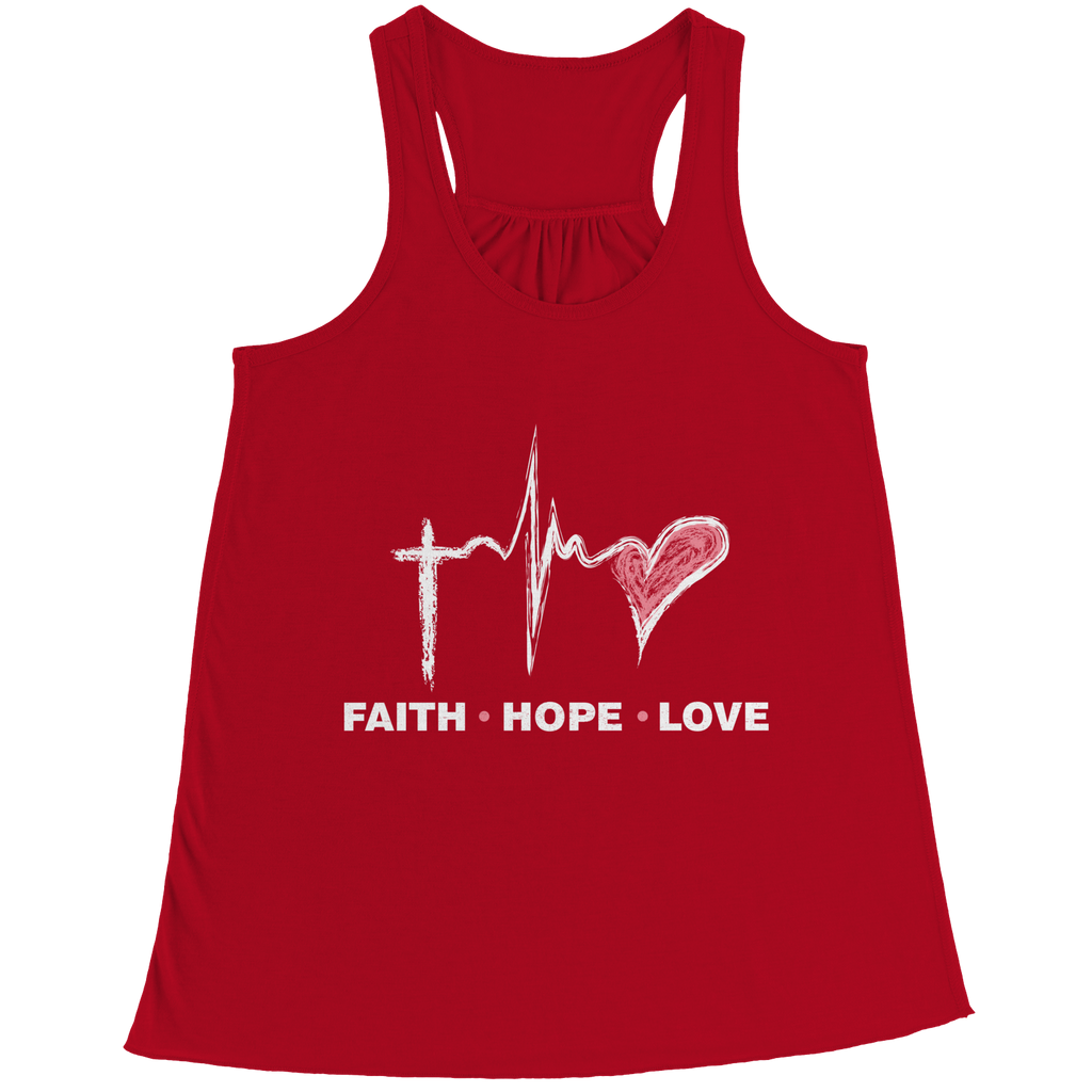 PT Bella Flowy Racerback Tank Bella Flowy Racerback Tank / Red / S Faith Hope Love (Ladies Racerback Tank)