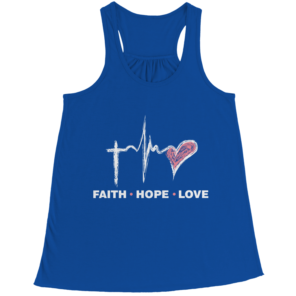 PT Bella Flowy Racerback Tank Bella Flowy Racerback Tank / Royal / S Faith Hope Love (Ladies Racerback Tank)