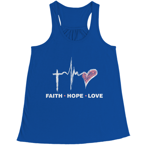 Image of PT Bella Flowy Racerback Tank Bella Flowy Racerback Tank / Royal / S Faith Hope Love (Ladies Racerback Tank)