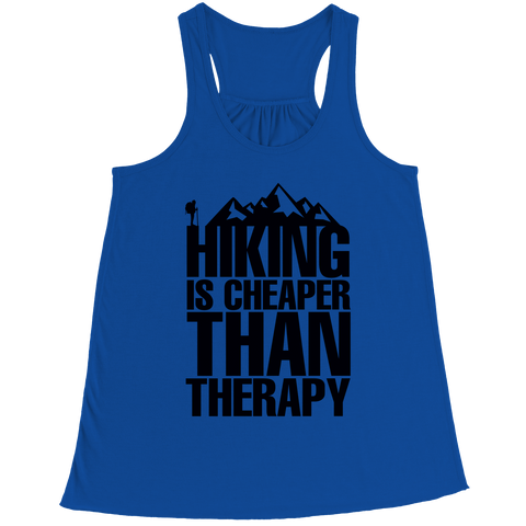 Image of PT Bella Flowy Racerback Tank Bella Flowy Racerback Tank / Royal / S Hiking Is Cheaper Than Therapy (Ladies Racerback Tank)