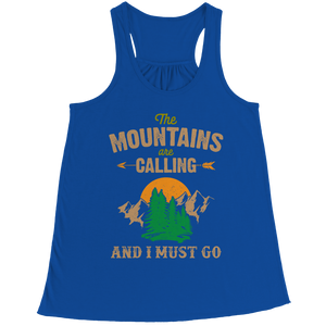 The Mountains Are Calling (Ladies Racerback Tank)