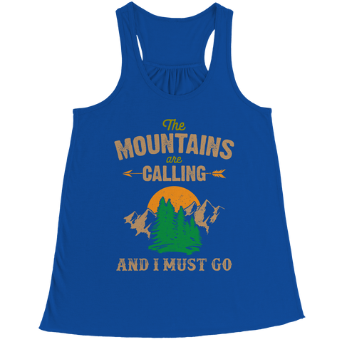 PT Bella Flowy Racerback Tank Bella Flowy Racerback Tank / Royal / S The Mountains Are Calling (Ladies Racerback Tank)