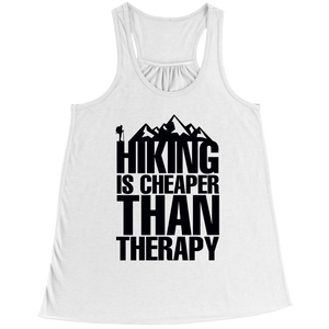 Hiking Is Cheaper Than Therapy (Ladies Racerback Tank)