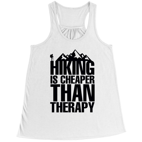 Image of PT Bella Flowy Racerback Tank Bella Flowy Racerback Tank / White / S Hiking Is Cheaper Than Therapy (Ladies Racerback Tank)