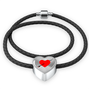 Double Braided Leather Charm Bracelet - Love Struck (Heart)