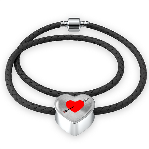 ShineOn Fulfillment Bracelets Leather S/M Woven Braided Bracelet & Charm / No Double Braided Leather Charm Bracelet - Love Struck (Heart)