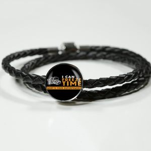 Double Braided Leather Charm Bracelet - I Can Freeze Time (Round)
