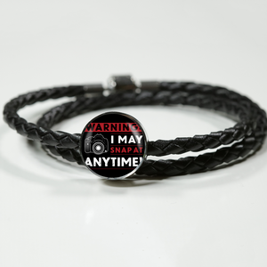 Double Braided Leather Charm Bracelet - I May Snap (Round)