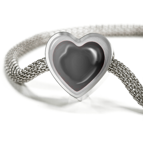 ShineOn Fulfillment Bracelets Steel M/L Bracelet & Charm / No Luxury Steel Mesh Charm Bracelet - Black Stitches Heart (Heart)