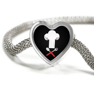 ShineOn Fulfillment Bracelets Steel M/L Bracelet & Charm / No Luxury Steel Mesh Charm Bracelet - Chef's Hat (Heart)