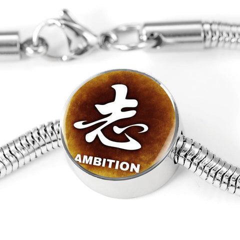 Image of ShineOn Fulfillment Bracelets Steel M/L Bracelet & Charm / No Luxury Steel Snake Charm Bracelet - Chinese Character AMBITION (Round)