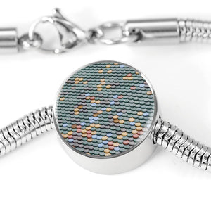 ShineOn Fulfillment Bracelets Steel M/L Bracelet & Charm / No Luxury Steel Snake Charm Bracelet - Fish Scale Pebbles (Round)
