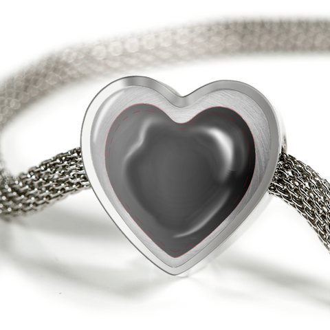 ShineOn Fulfillment Bracelets Steel S/M Bracelet & Charm / No Luxury Steel Mesh Charm Bracelet - Black Stitches Heart (Heart)