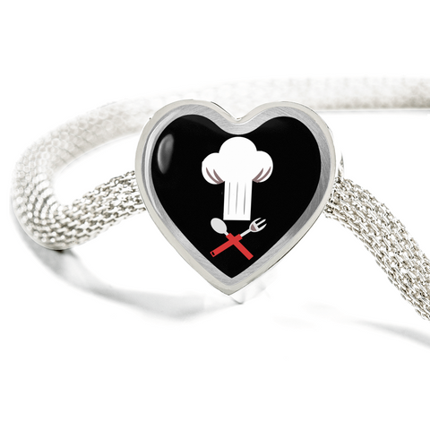 ShineOn Fulfillment Bracelets Steel S/M Bracelet & Charm / No Luxury Steel Mesh Charm Bracelet - Chef's Hat (Heart)