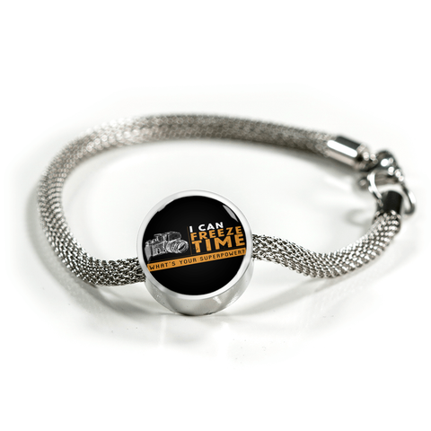 ShineOn Fulfillment Bracelets Steel S/M Bracelet & Charm / No Luxury Steel Mesh Charm Bracelet - I Can Freeze Time (Round)
