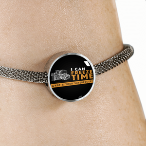 Luxury Steel Mesh Charm Bracelet - I Can Freeze Time (Round)