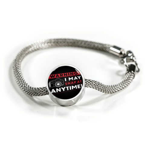 ShineOn Fulfillment Bracelets Steel S/M Bracelet & Charm / No Luxury Steel Mesh Charm Bracelet - I May Snap (Round)