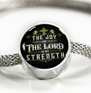 ShineOn Fulfillment Bracelets Steel S/M Bracelet & Charm / No Luxury Steel Mesh Charm Bracelet - Joy Of The Lord (Round)