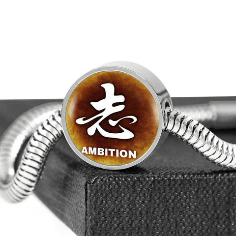 Image of ShineOn Fulfillment Bracelets Steel S/M Bracelet & Charm / No Luxury Steel Snake Charm Bracelet - Chinese Character AMBITION (Round)