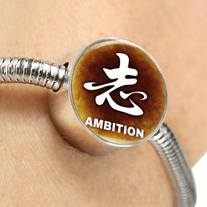 Luxury Steel Snake Charm Bracelet - Chinese Character AMBITION (Round)