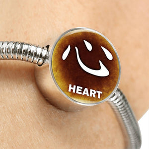 Luxury Steel Snake Charm Bracelet - Chinese Character HEART (Round)