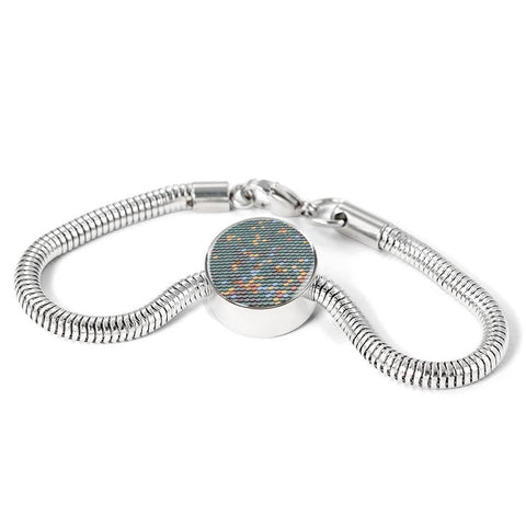 ShineOn Fulfillment Bracelets Steel S/M Bracelet & Charm / No Luxury Steel Snake Charm Bracelet - Fish Scale Pebbles (Round)