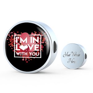 ShineOn Fulfillment Charms Circle Charm / No Luxury Steel Charm - In Love With You Black (Round)