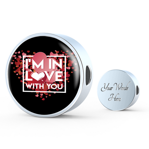 Image of ShineOn Fulfillment Charms Circle Charm / No Luxury Steel Charm - In Love With You Black (Round)