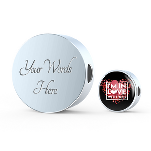 Luxury Steel Charm - In Love With You Black (Round)