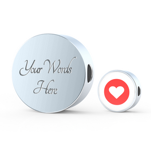 Luxury Steel Charm - Red White Heart (Round)
