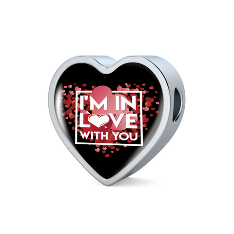 ShineOn Fulfillment Charms Heart Charm Only / No Luxury Steel Charm - In Love With You Black (Heart)