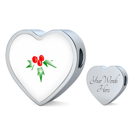 ShineOn Fulfillment Charms Heart Charm Only / No Luxury Steel Charm - Mistletoe (Heart)