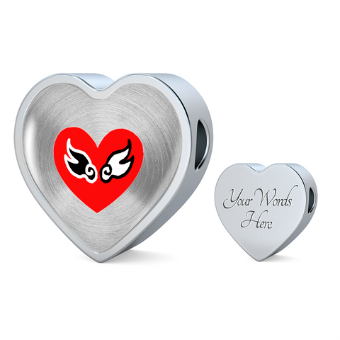 ShineOn Fulfillment Charms Heart Charm Only / Yes Luxury Steel Charm Heart - Lovewings (Heart)