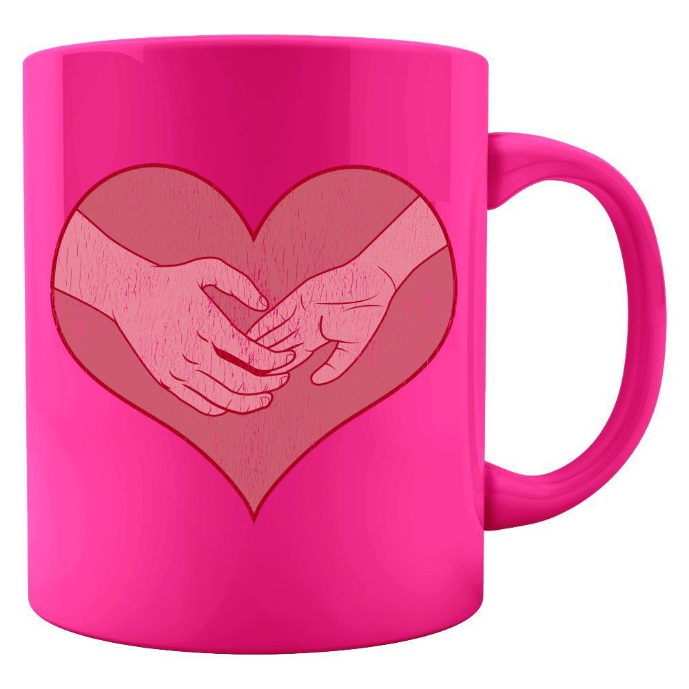 Kent Prints Colored Mug 11oz / Neon Pink Hand holding in a heart universal grunge - Colored Mug