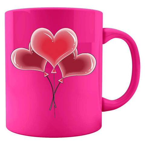 Kent Prints Colored Mug 11oz / Neon Pink Heart balloons universal - Colored Mug