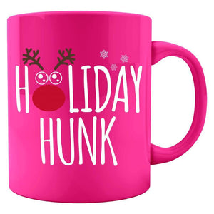 Kent Prints Colored Mug 11oz / Neon Pink Holiday Hunk Christmas - Colored Mug