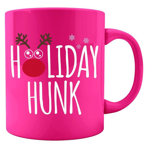 Image of Kent Prints Colored Mug 11oz / Neon Pink Holiday Hunk Christmas - Colored Mug