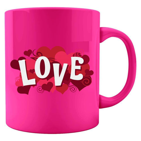 Kent Prints Colored Mug 11oz / Neon Pink Love sign with hearts universal - Colored Mug