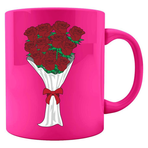 Kent Prints Colored Mug 11oz / Neon Pink Valentine's Day roses universal - Colored Mug